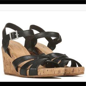 B.O.C. Black Apple Cork Wedge Sandals